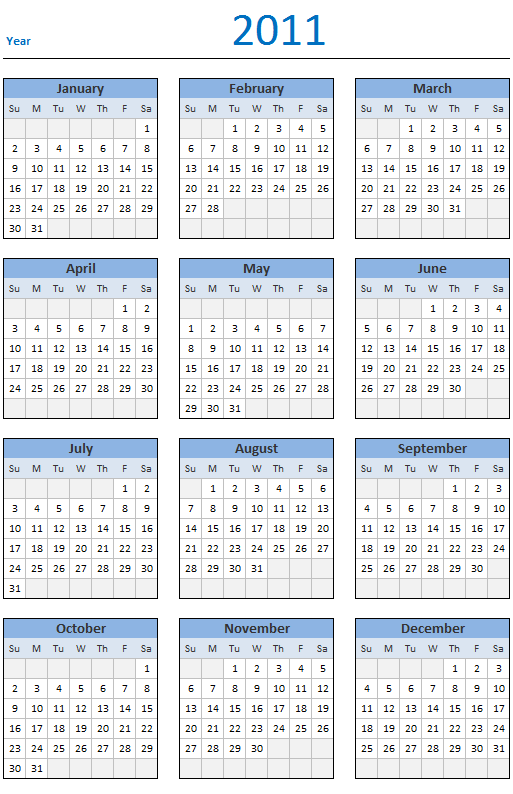 Free 2011 Calendar - Download and Print Year 2011 Calendar today
