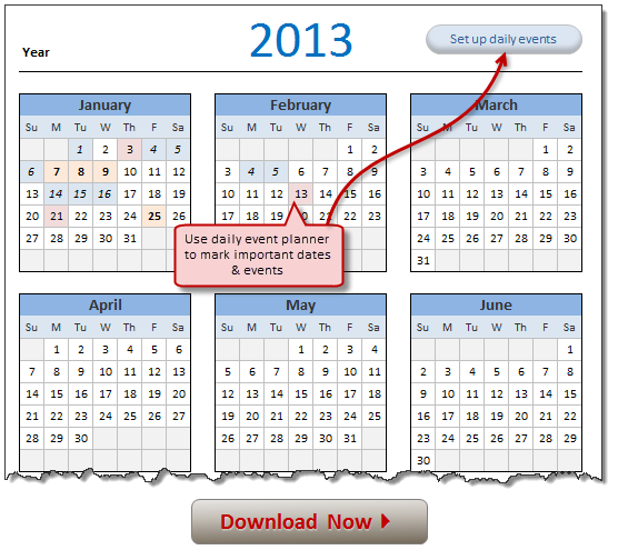 2013 Calendar  Excel Template [Downloads]