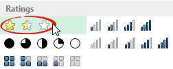 Conditional formatting star rating icons