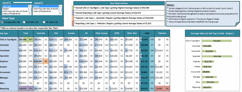 Dashboard to visualize Excel Salaries - by Nitin Bindal - Chandoo.org - Screenshot