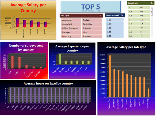Dashboard to visualize Excel Salaries - by Guillermo Barreda - Chandoo.org - Screenshot