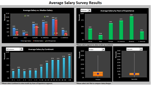 Dashboard to visualize Excel Salaries - by Bryan Waller - Chandoo.org - Screenshot