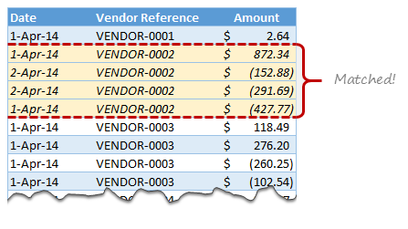 Matching transactions using formulas [Accounting]