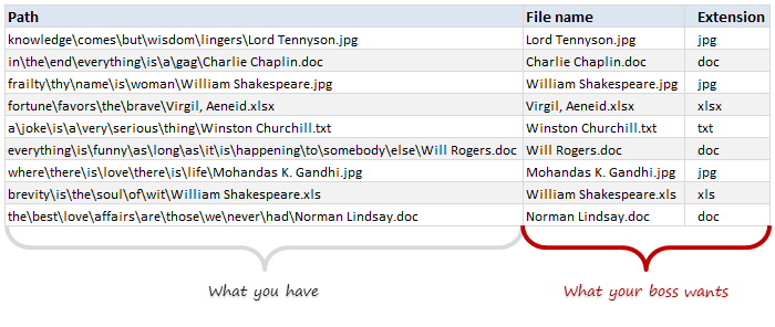 Extracting file names from full path using Excel formulas - how to?