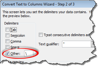 Text to columns settings for extracting file name from full path - Excel