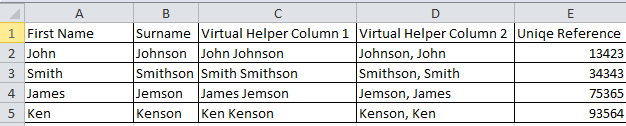How virtual helper columns work - Multi-condition lookup formula