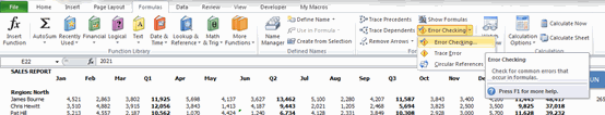 Error Checking From Ribbon - Excel's Auditing Functions