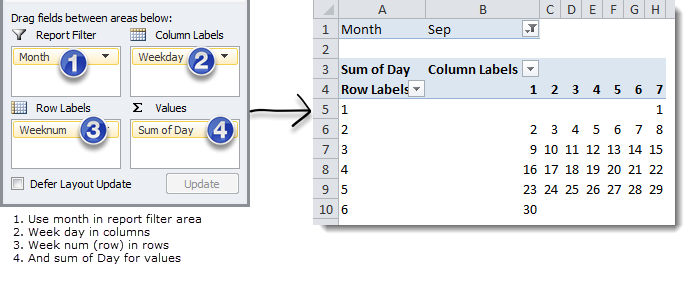 Setup Pivot Table Calendar - steps