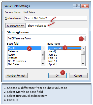 Showing monthly differences in pivot report using value field settings