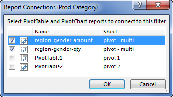 Linking multiple pivot tables to a slicer in Excel - how to