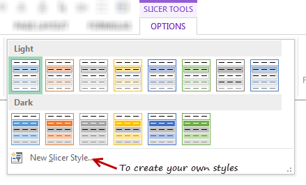 Slicer styles and colors