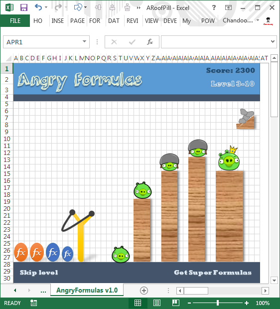 "Unlock ""Angy Formulas"" – an Angry Birds like game hidden in Excel using this trick!!!"