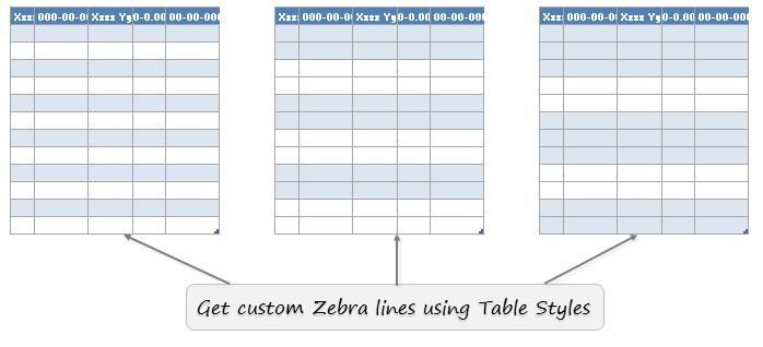 Custom Zebra lines using Excel table formats - how to?