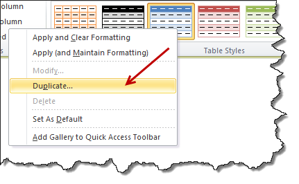 Create a duplicate table style by right clicking on the style you want