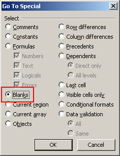 Select all blank cells