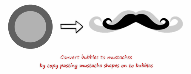 Convert bubbles to mustaches in excel bubble chart