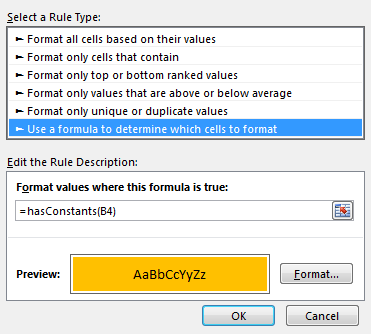 Conditional formatting to check hardcoded formula values
