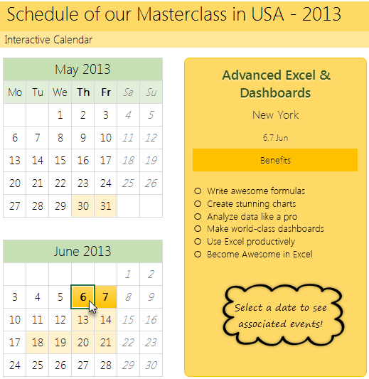 How to create interactive calendar to highlight events ...