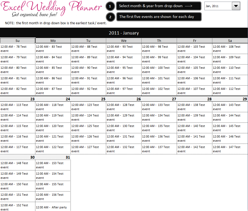 free excel wedding planner template