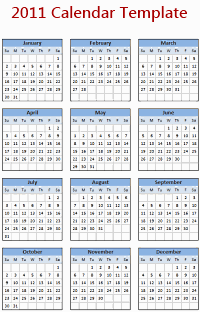 2011 Calendar – Excel Template [Downloads]