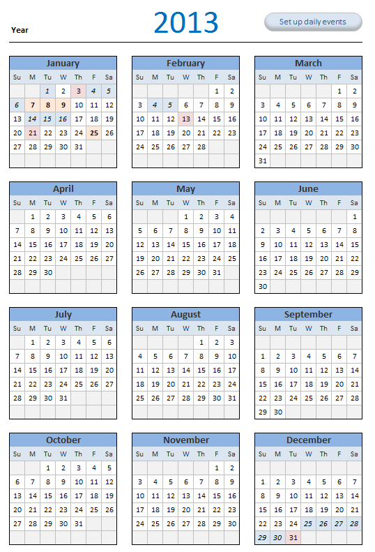 2013 Calendar Template Excel Blackdgfitness