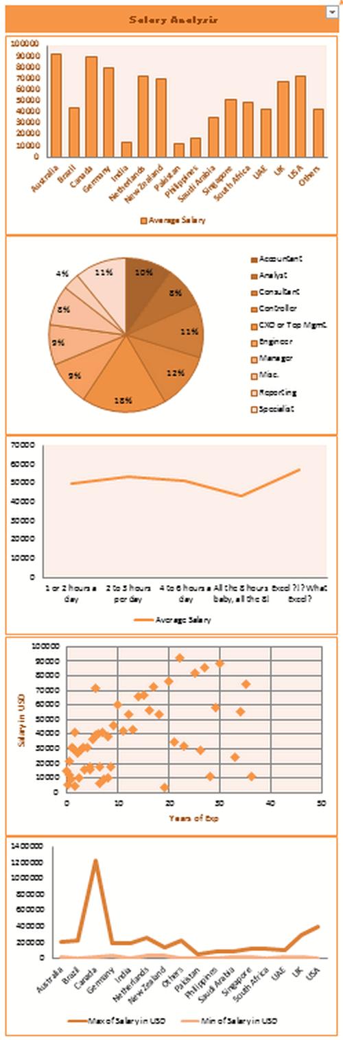 Dashboard to visualize Excel Salaries - by Akash Khandelwal - Chandoo.org - Screenshot