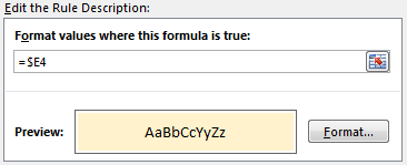 Conditional formatting rule for highlighting matched transactions