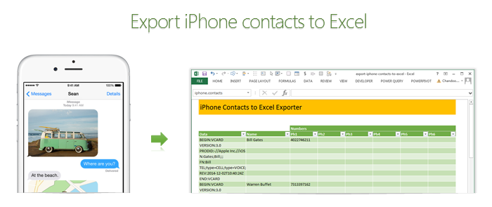 Export iPhone contacts to Excel using this free template