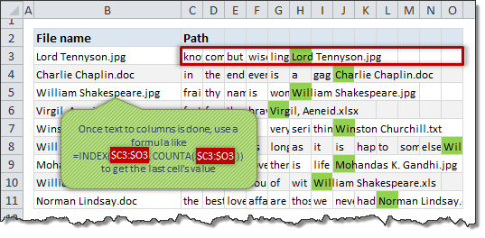 Extracting file name from path using text to columns utility and formulas - how to?