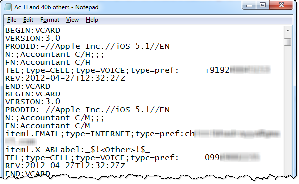 Example VCF file format - how to export iPhone contacts to Excel