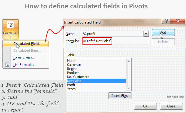 Calculated Fields Pivot Tables