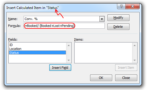 Calculated item for conversion percentage - Excel pivot tables