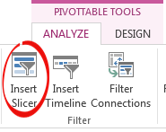 Insert a slicer from Pivot Table Analyze Ribbon