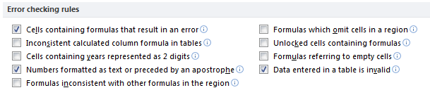 Error Checking options in Excel 2010