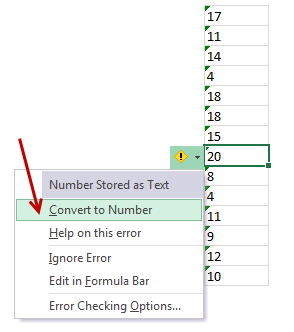 Converting numbers stored as text back to numbers - using Convert to number option from cell error