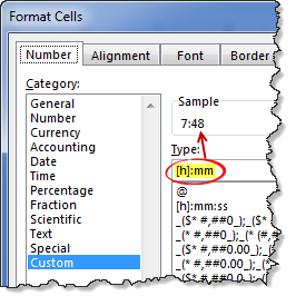 Custom cell formatting to show hours & minutes in Excel from fractional time