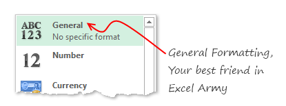 General Formatting in Excel - Use it to simplify your cell formatting needs