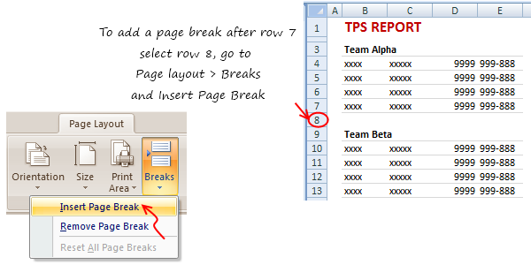 Insert Page Breaks in Excel - how to?