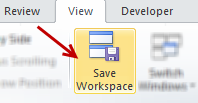 Save Workspace button - Excel ribbon