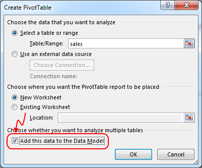 Adding a pivot table with data model in Excel 2013