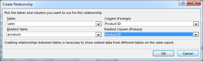 Creating a new relationship in Excel 2013 - how to?