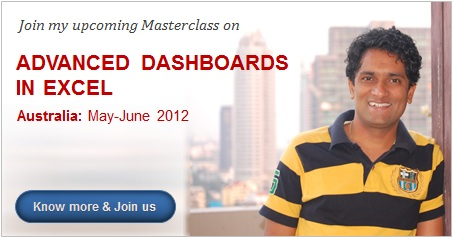 Advanced Dashboards Masterclass by Chandoo in Australia - May,June 2012