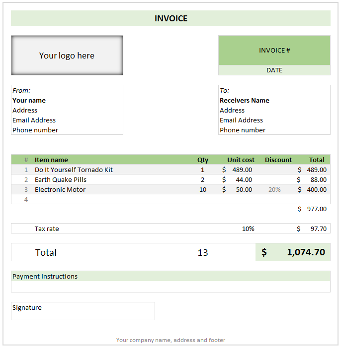 Free Invoice Template Using MS Excel   Download  Free Invoice Generator Online