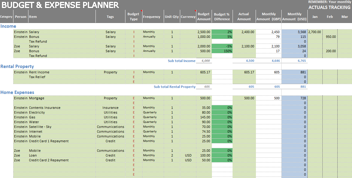 spending tracker excel
