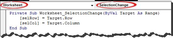 VBA code to capture selected cell's row & column