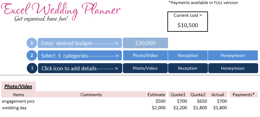 download wedding planner excel workbook