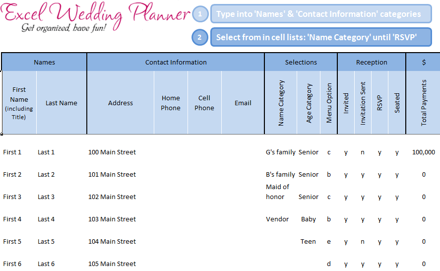 wedding planner template excel